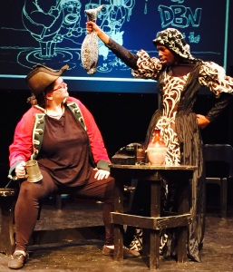 Chante du Plessis as Vasco da Gama being henpecked by his wife Anna Maria (Sfundo Sosibo), in a scene from De Compleat Hstry of DBN (without the boring bits!) which is being staged by the students of the Department of Drama Studies at UKZN.