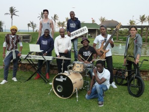 Pictured are members of the band, Salt and Light (based at UKZN); accomplished skateboarders / biker riders and visual artists who will be participating in the event Back, left to right: Darren Oatley (Skateboard), Celumusa Dladla (Tall / blue / Keys), Middle left to right Mondli Mbhele (Yellow hat / artist) Sibonelo Mdletshe (Specs / sweatshirt) Head of Parks, Recreation and Culture Unit, Thembinkosi Ngcobo Sibonsiso Mavundla (Hat / drums) Siya Mkhize (White T shirt / guitar) Schogn Lee (Bike) Front: Lindani Nyandeni (White T shirt artist) Photo: Publicity Matters
