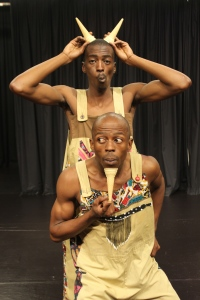 Mpilo Nzimande (back) as the cow and TQ Zondi (front) as the goat in Tales of the Termite.