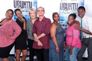 UBUNTU composer Juan Burgers (centre) with choristers from left, Nana Mkhize, Nature Khuzwayo, Colleen Smit, Nqobile Khuzwayo, Nqobile Mathaba & Bright Magwaza (pic Val Adamson)
