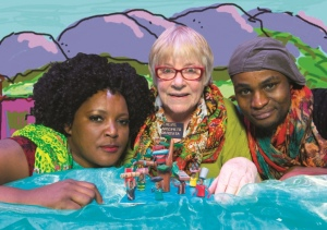 Zoleka Helesi, Janice Honeyman, Marty Kintu in Bangalory's Back. Photo: Andrew Brown