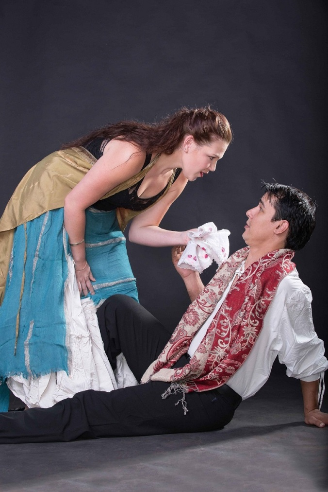 Marc Kay & Sarah Richard as Cassio & Bianca in 'Othello' (pic by Val Adamson)