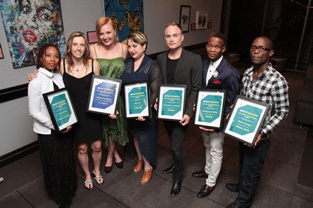 2015_ImpACT_Awards_winners-_Lindiwe_Maxolo,_Jessica_Denyschen,_POPArt,_Laurie_van_Heerden,_Letlhogonolo_Nche_and_Benon_Lutaaya._Pic_John_Hogg