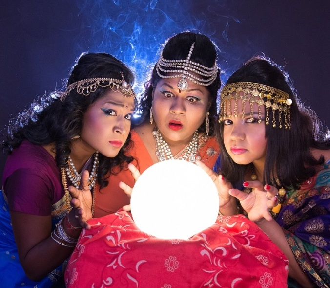 Actresses Sivani Chinappan, Maeshni Naicker & Shona Johnson in 'Mystic Twisters' pictured by Val Adamson (cropped)