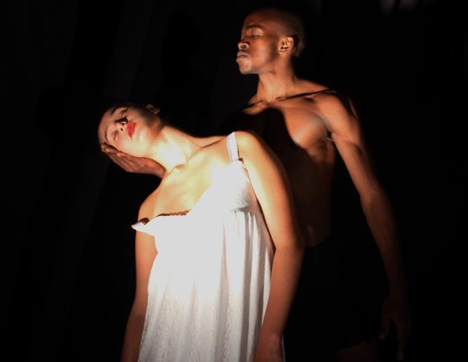 Penelope (Nicola Oelofse) and Odysseus (Bonwa Mbontsi) 1