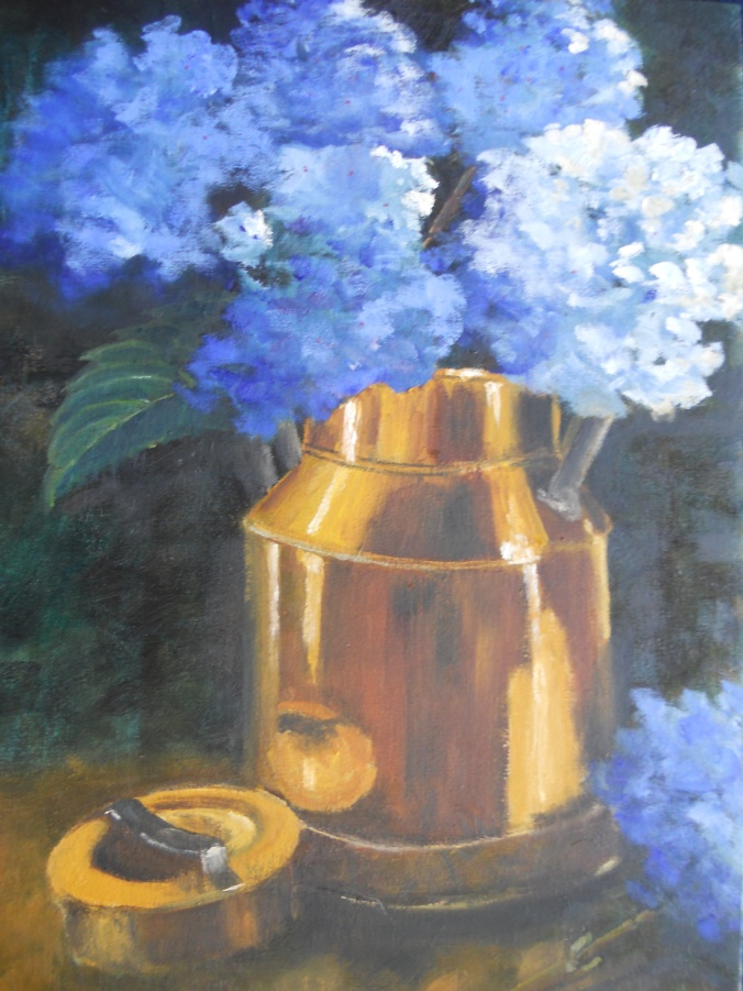 harts Brass milk can with hydrangeas 400x600mm